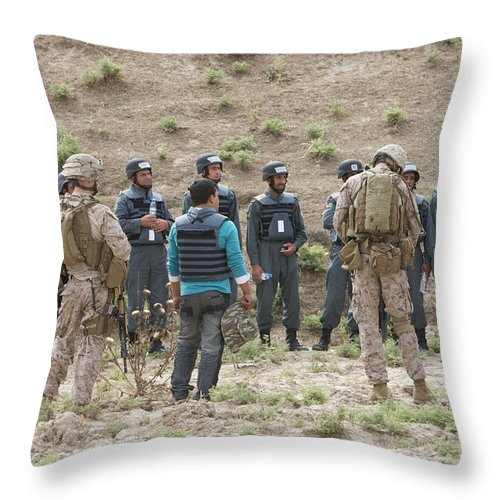 Us Marines Throw Pillow featuring the photograph Afghan Police Students Listen To U.s by Terry Moore