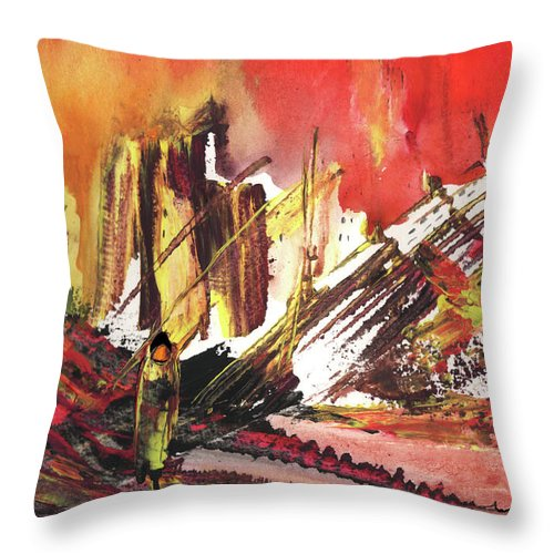 Abstract Throw Pillow featuring the painting After The Earthquake by Miki De Goodaboom