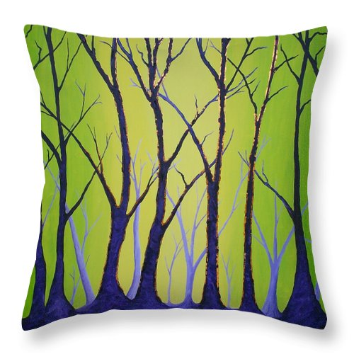 Trees Throw Pillow featuring the painting After The Fire by Randall Weidner