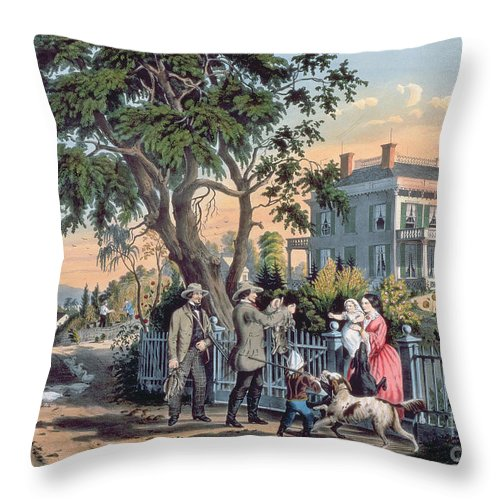 After The Hunt Throw Pillow featuring the painting After The Hunt by Currier and Ives