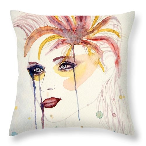 Watercolor Dancer Throw Pillow featuring the painting After The Show Watercolor On Paper by Georgeta Blanaru
