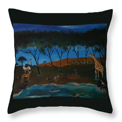 Animals Throw Pillow featuring the painting Afternoon In The Serengeti by Paul F Labarbera