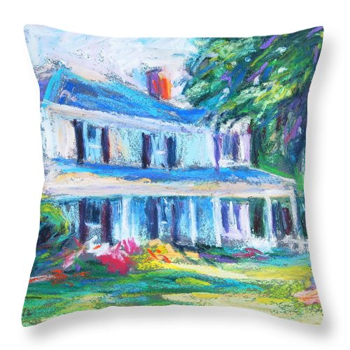 Farmhouse Throw Pillow featuring the pastel Afternoon Shadows by Bethany Bryant