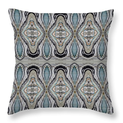 Agates Throw Pillow featuring the painting Agate-38e Border Tiled by Sue Duda