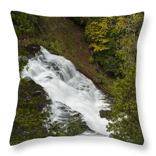 Agate Throw Pillow featuring the photograph Agate Falls 1 by John Brueske