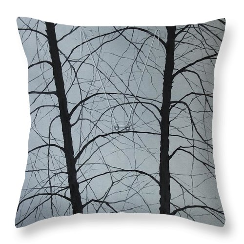 Winter Trees Throw Pillow featuring the painting Aging by Roger Calle