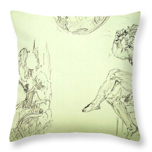Agony Throw Pillow featuring the drawing Agony And Atlas Sketch Of Him Throwing The World Onto Her As He Transforms Life Burden To Freedom by MendyZ M Zimmerman