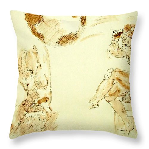Agony Throw Pillow featuring the painting Agony And Atlas Sketch Watercolor Throwing The World As He Transforms Life From A Burden To Freedom by MendyZ M Zimmerman