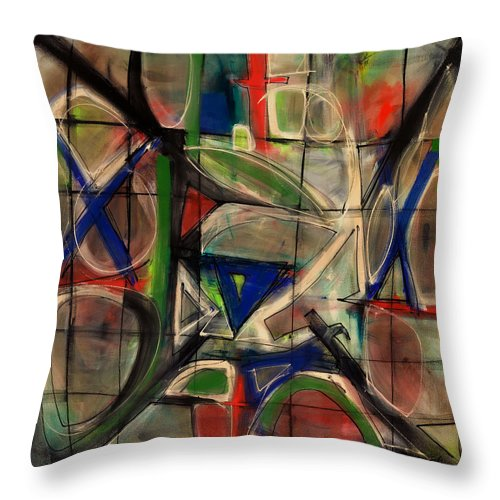 Abstract Painting Throw Pillow featuring the painting Agrarian Compass by Lynne Taetzsch