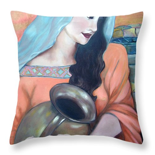 Woman Throw Pillow featuring the painting Agua Del Pozo by Veronica Zimmerman