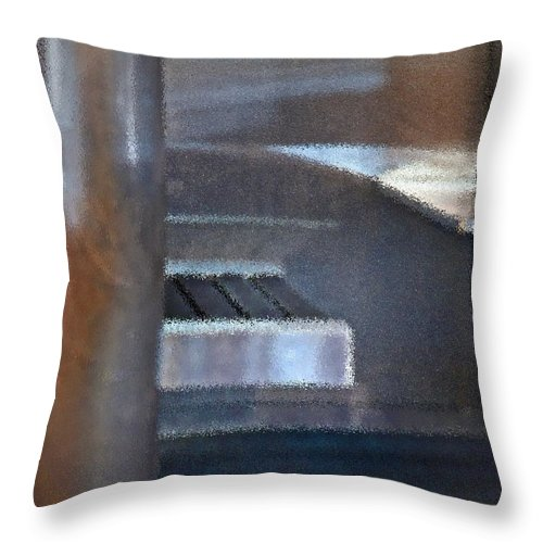Airport Throw Pillow featuring the photograph Airport Cubical by Gwyn Newcombe
