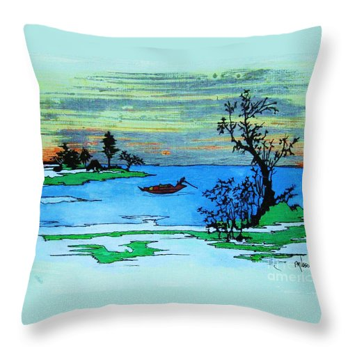 Landscape Throw Pillow featuring the painting Aizu Marsh by Roberto Prusso