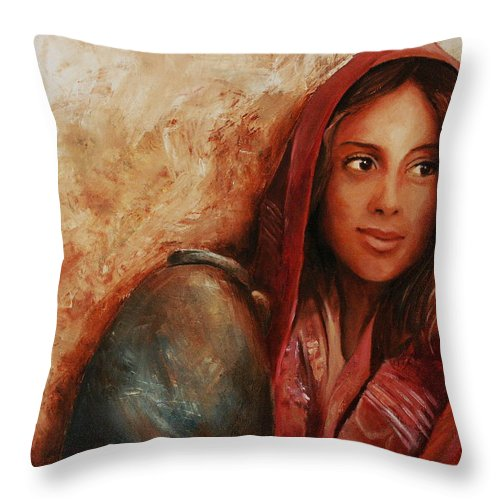 Alabaster Throw Pillow featuring the painting Alabaster by Jun Jamosmos