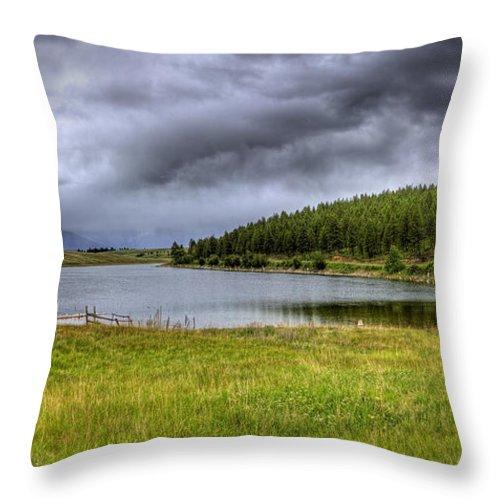 Landscape Throw Pillow featuring the photograph Alaki Lake Near Eureka by Lee Santa
