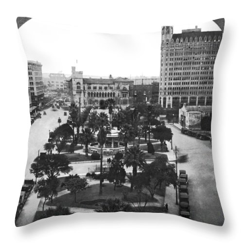 1910's Throw Pillow featuring the photograph Alamo Plaza In San Antonio by Underwood Archives