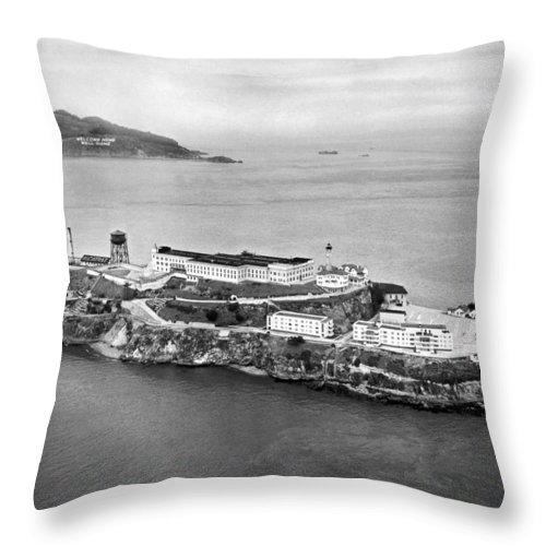 1940's Throw Pillow featuring the photograph Alcatraz Island And Prison by Underwood Archives