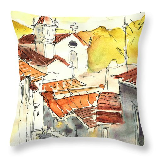 Travel Throw Pillow featuring the painting Alcoutim In Portugal 06 by Miki De Goodaboom