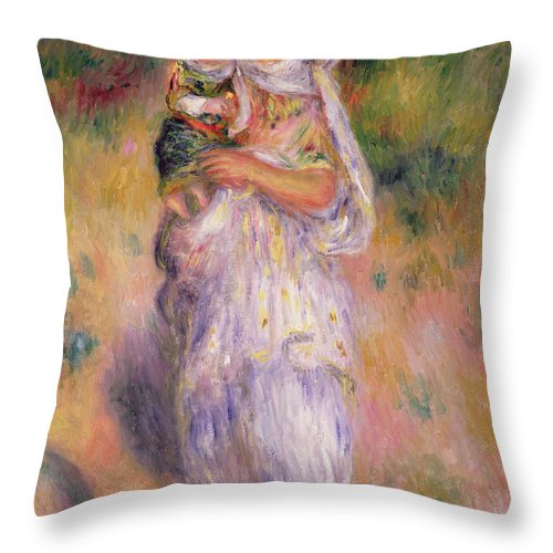 Algerian Throw Pillow featuring the painting Algerian Woman And Child by Pierre Auguste Renoir