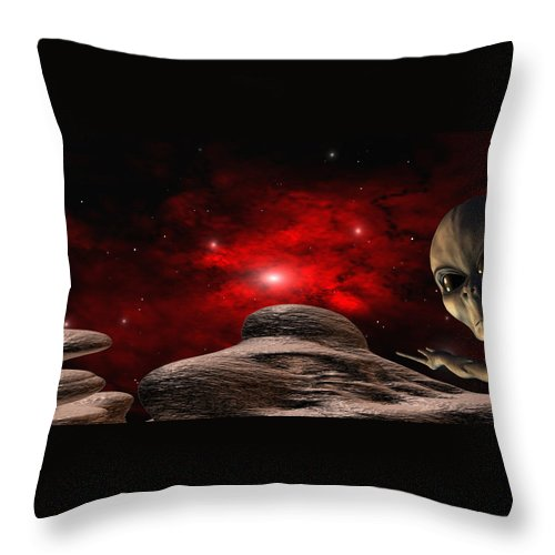 Space Throw Pillow featuring the digital art Alien Planet by Robert aka Bobby Ray Howle