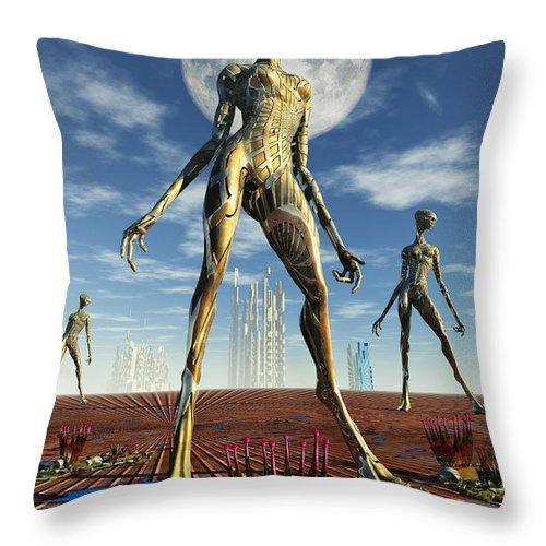 Vertical Throw Pillow featuring the digital art Alien Reptoid Beings Wearing Organic by Mark Stevenson