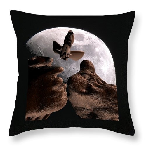 Space Throw Pillow featuring the mixed media Alien view by Robert aka Bobby Ray Howle