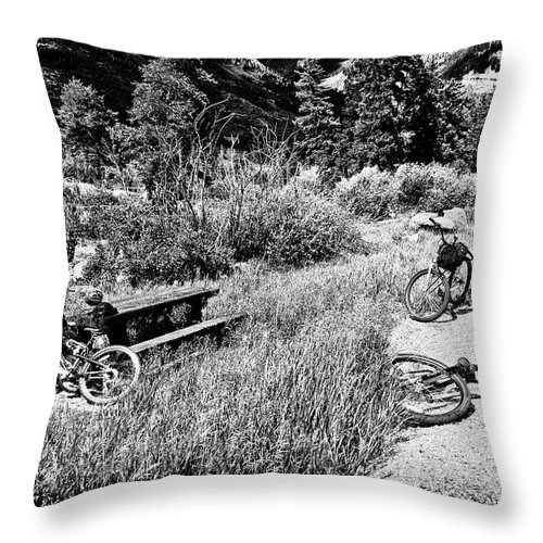 Bike Throw Pillow featuring the photograph All Fall Down by Madeline Ellis