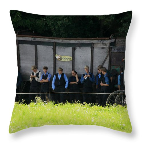 Digital Throw Pillow featuring the photograph All The Amish Boy's by Dennis Pintoski