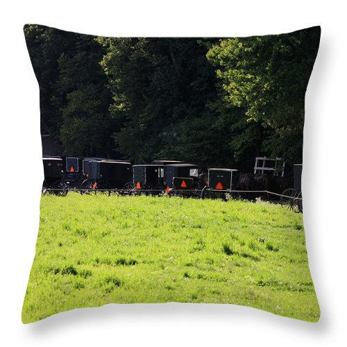 Digital Throw Pillow featuring the photograph All The Amish Buggies by Dennis Pintoski