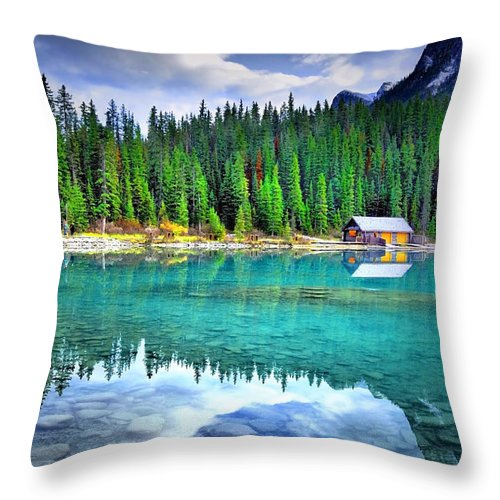 Lake Louise Throw Pillow featuring the photograph All Things Reflected by Tara Turner