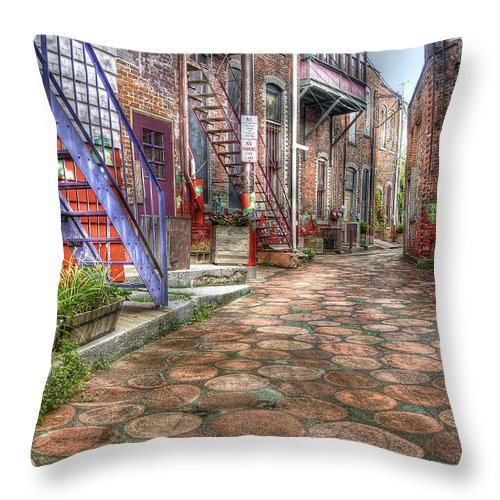 Hdr Throw Pillow featuring the photograph Alley by Brian Fisher