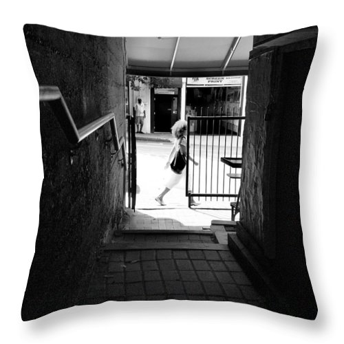 Asheville Throw Pillow featuring the photograph Alley Downtown Asheville by Gray Artus