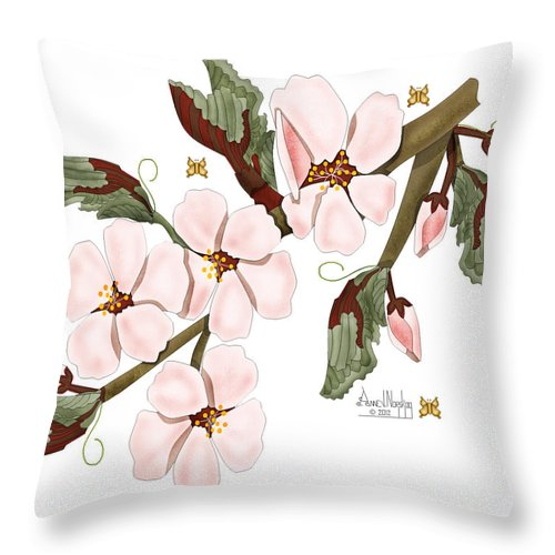 Anne Norskog Throw Pillow featuring the painting Almond Branch With Flowers and Leaves by Anne Norskog