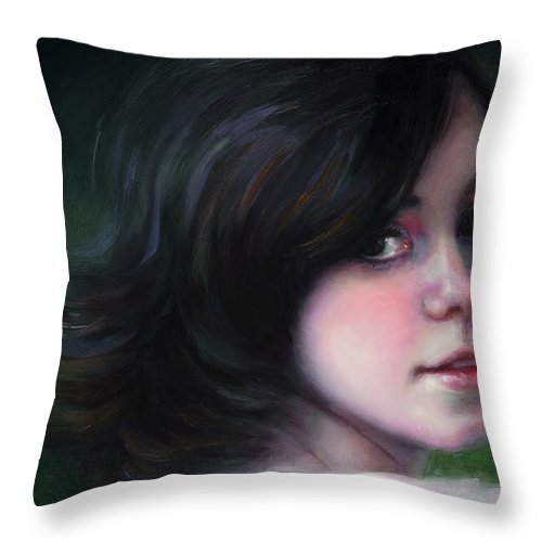 Girl Throw Pillow featuring the painting Almost Ready-detail by Talya Johnson