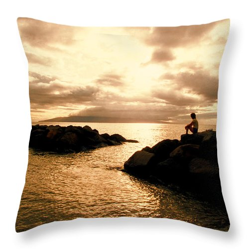 Ocean Throw Pillow featuring the photograph Alone With Your Thoughts by Jerry McElroy