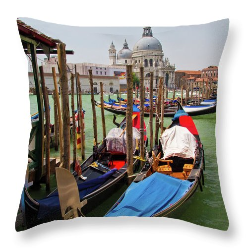 Venice Throw Pillow featuring the photograph Along The Grand Canal by Roger Mullenhour