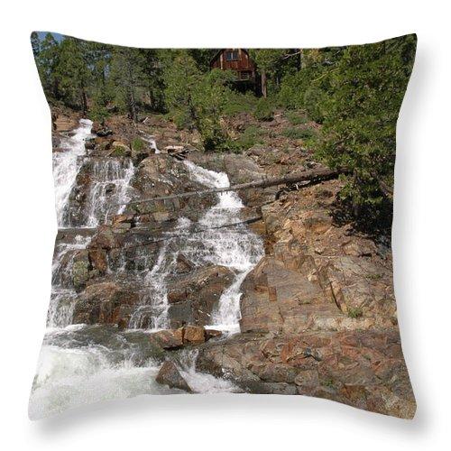 Usa Throw Pillow featuring the photograph Alpine Creek Falls Lake Tahoe by LeeAnn McLaneGoetz McLaneGoetzStudioLLCcom
