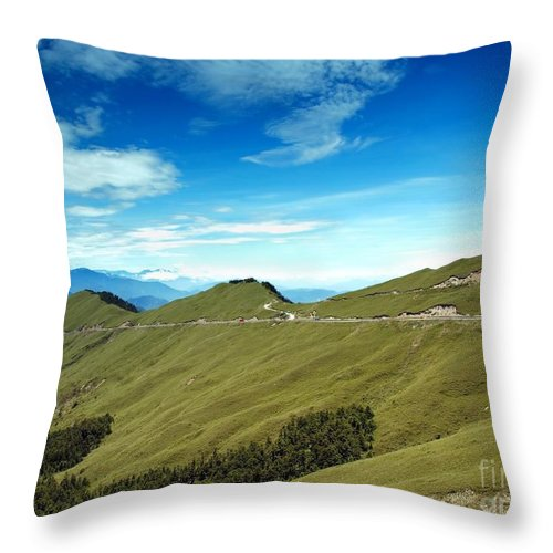 Mountains Throw Pillow featuring the photograph Alpine High Altitude Road In Taiwan by Yali Shi