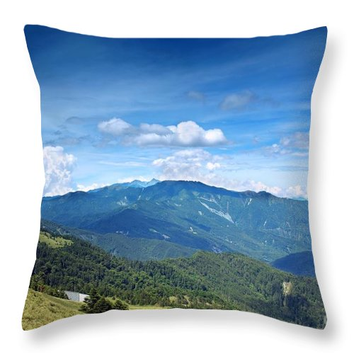 Mountains Throw Pillow featuring the photograph Alpine Panorama In Taiwan by Yali Shi
