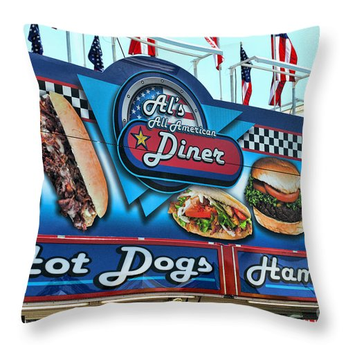 Al's All American Diner Throw Pillow featuring the photograph Al's All American Diner by Paul Ward