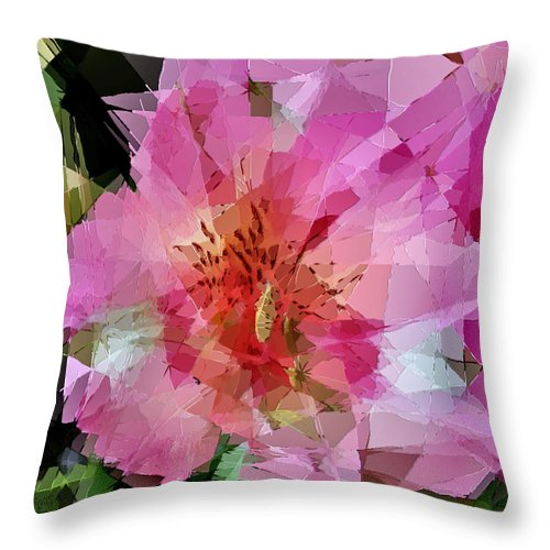 Lily Throw Pillow featuring the photograph Alstroemeria Cubist Style by Dee Flouton
