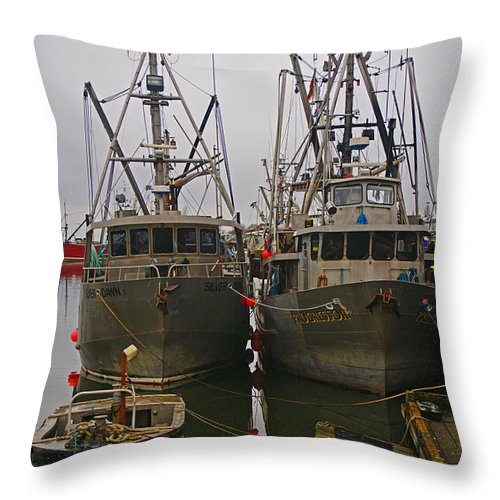 Fishing Boats Throw Pillow featuring the photograph Aluminum Fishing Boats by Randy Harris