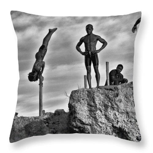 Jamaica Throw Pillow featuring the photograph Amazing Divers by Sheri Bartoszek