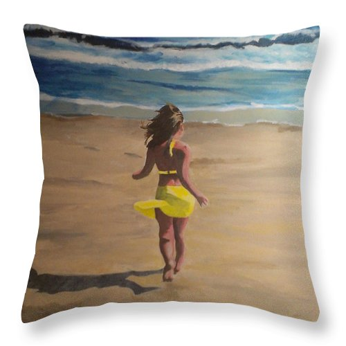 Beach Throw Pillow featuring the painting Amelia Beach by Travis Day
