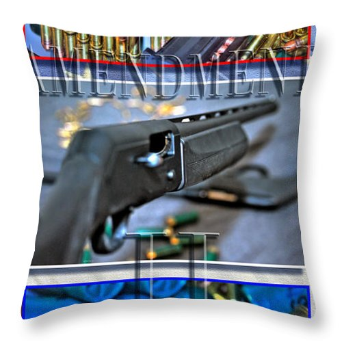 Throw Pillow featuring the photograph Amendment II With Text by Michael Frank Jr