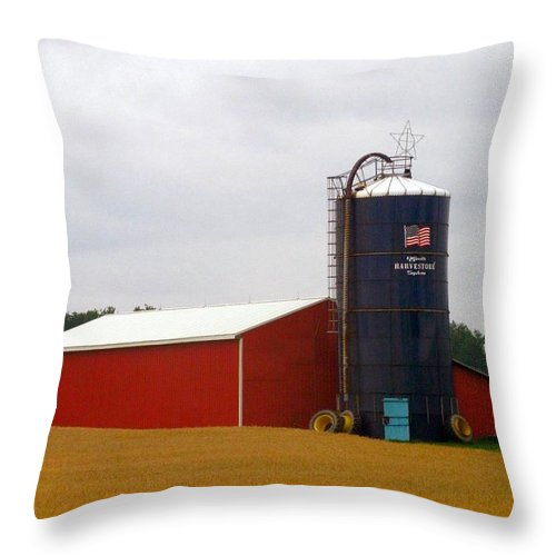 Farm Throw Pillow featuring the photograph American Farmland by Rhonda Barrett