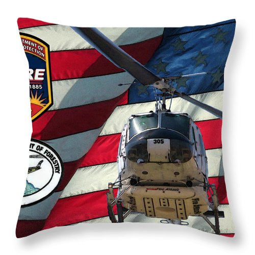 Firefighting Throw Pillow featuring the digital art American Hero 1 by Tommy Anderson