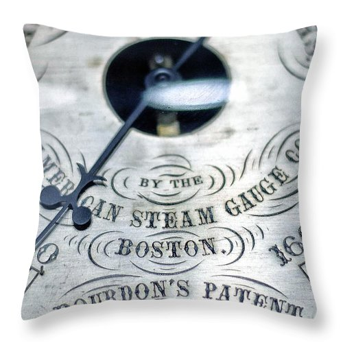 Steam Throw Pillow featuring the photograph American Steam Gauge by Scott Wyatt