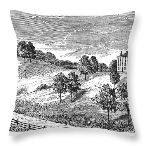 1821 Throw Pillow featuring the photograph Amherst College, 1821 by Granger