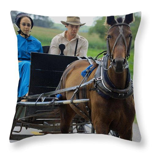 Amish Throw Pillow featuring the photograph Amish Buggy Ride by Dennis Pintoski