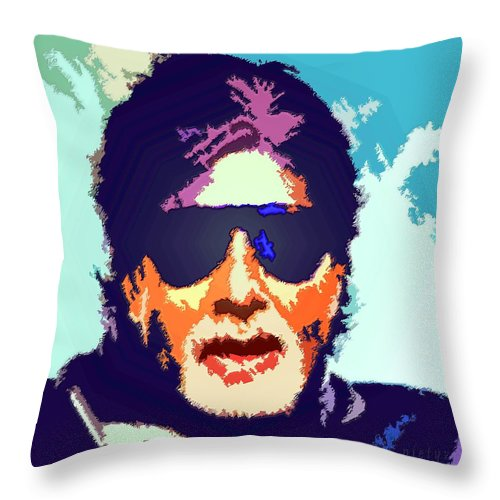 Amitabh Bachchan Throw Pillow featuring the painting Amitabh Bachchan by Piety Dsilva